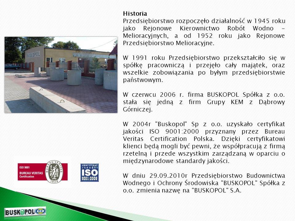 Historia Przedsiębiorstwo rozpoczęło działalność w 1945 roku jako Rejonowe Kierownictwo Robót Wodno - Melioracyjnych, a od 1952 roku jako Rejonowe Przedsiębiorstwo Melioracyjne.