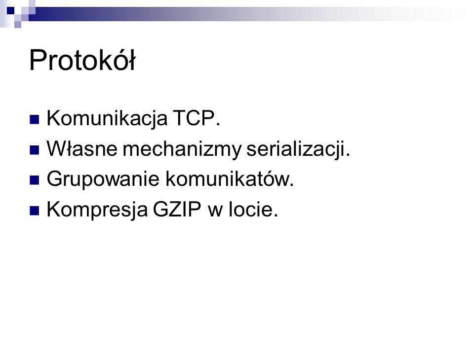 Protokół Komunikacja TCP. Własne mechanizmy serializacji. Grupowanie komunikatów. Kompresja GZIP w locie.