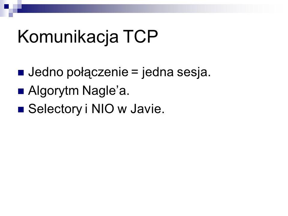 Komunikacja TCP Jedno połączenie = jedna sesja. Algorytm Naglea. Selectory i NIO w Javie.