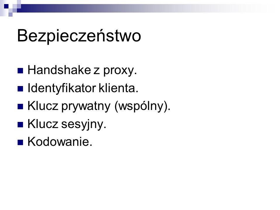 Bezpieczeństwo Handshake z proxy. Identyfikator klienta. Klucz prywatny (wspólny). Klucz sesyjny. Kodowanie.