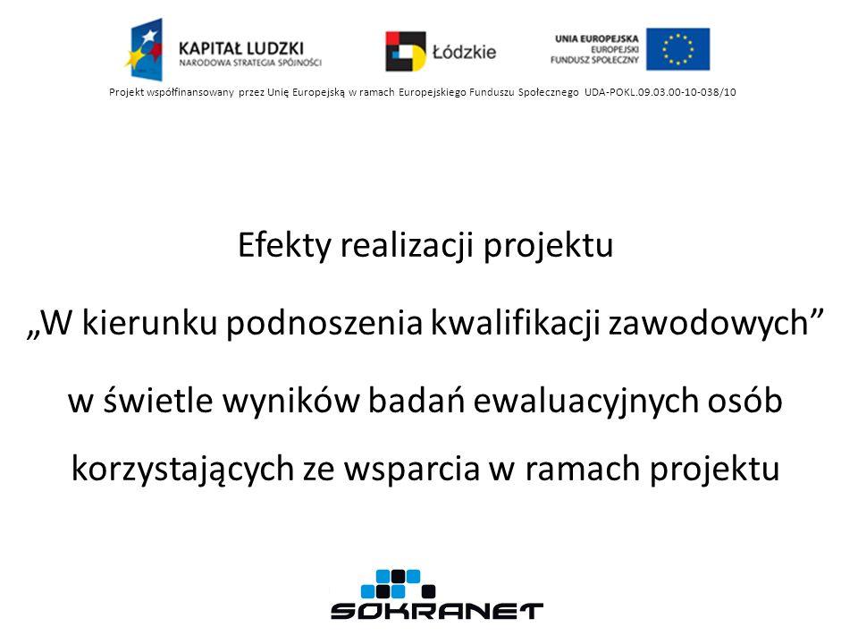 Projekt współfinansowany przez Unię Europejską w ramach Europejskiego Funduszu Społecznego UDA-POKL.09.03.00-10-038/10 Spełnienie oczekiwań w związku ze skorzystaniem z oferty działań projektowych Źródło: opracowanie własne.