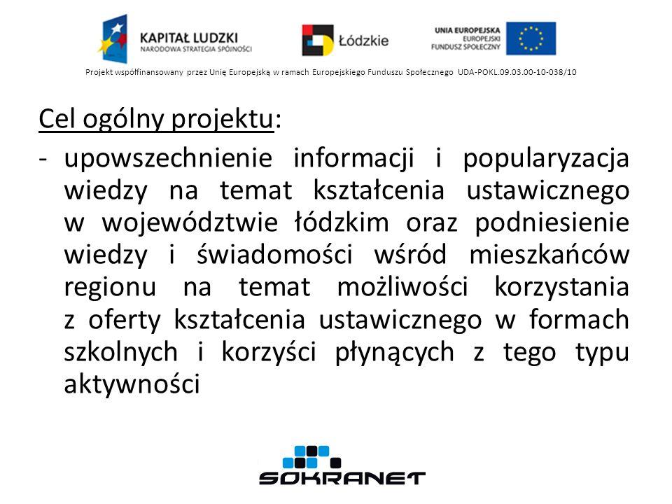 Cel ogólny projektu: -upowszechnienie informacji i popularyzacja wiedzy na temat kształcenia ustawicznego w województwie łódzkim oraz podniesienie wiedzy i świadomości wśród mieszkańców regionu na temat możliwości korzystania z oferty kształcenia ustawicznego w formach szkolnych i korzyści płynących z tego typu aktywności Projekt współfinansowany przez Unię Europejską w ramach Europejskiego Funduszu Społecznego UDA-POKL.09.03.00-10-038/10