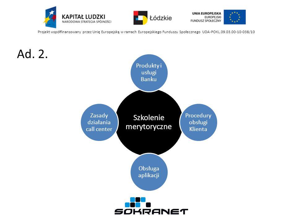 Ad. 2. Projekt współfinansowany przez Unię Europejską w ramach Europejskiego Funduszu Społecznego UDA-POKL.09.03.00-10-038/10 Szkolenie merytoryczne P