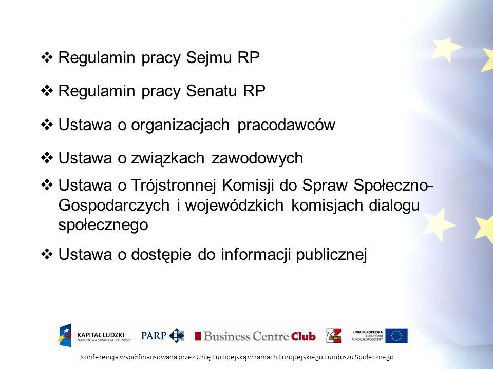 Konferencja współfinansowana przez Unię Europejską w ramach Europejskiego Funduszu Społecznego Regulamin pracy Sejmu RP Regulamin pracy Senatu RP Usta