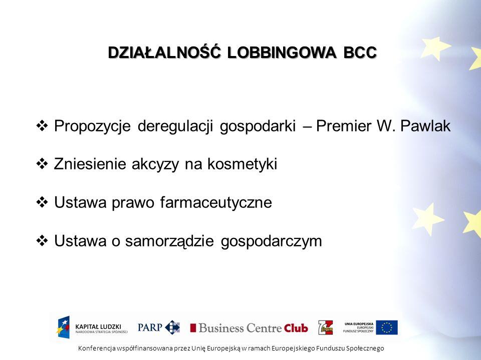 Konferencja współfinansowana przez Unię Europejską w ramach Europejskiego Funduszu Społecznego DZIAŁALNOŚĆ LOBBINGOWA BCC Propozycje deregulacji gospo