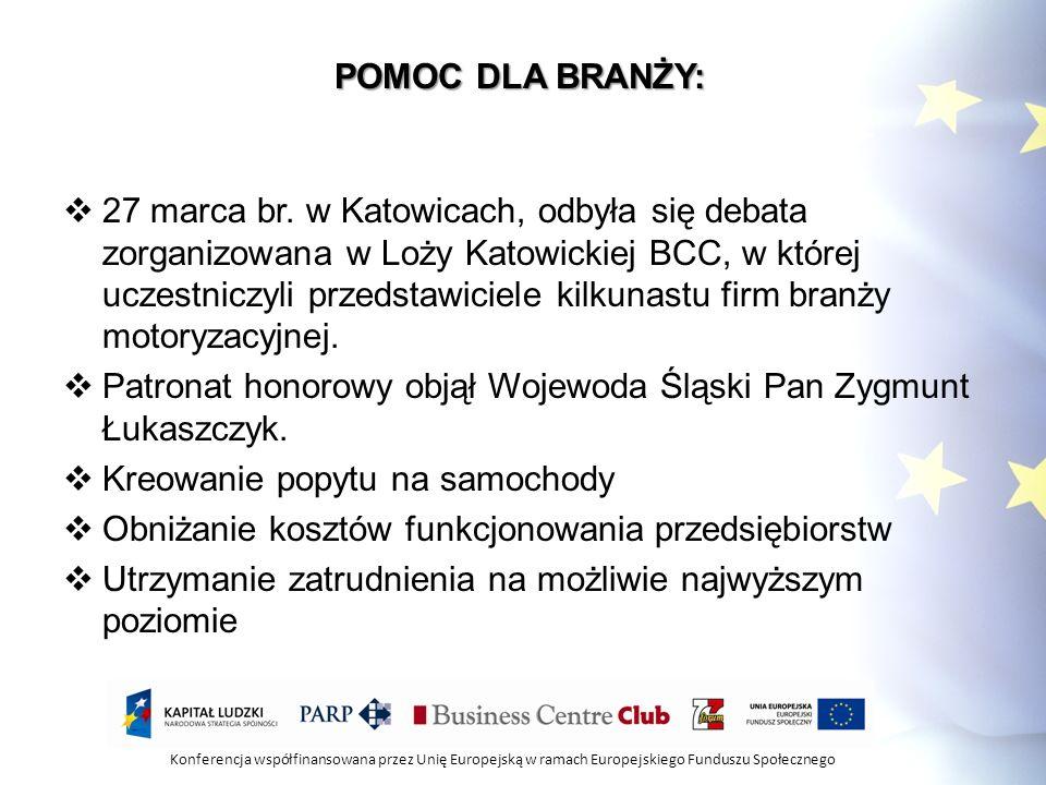 Konferencja współfinansowana przez Unię Europejską w ramach Europejskiego Funduszu Społecznego POMOC DLA BRANŻY: 27 marca br. w Katowicach, odbyła się