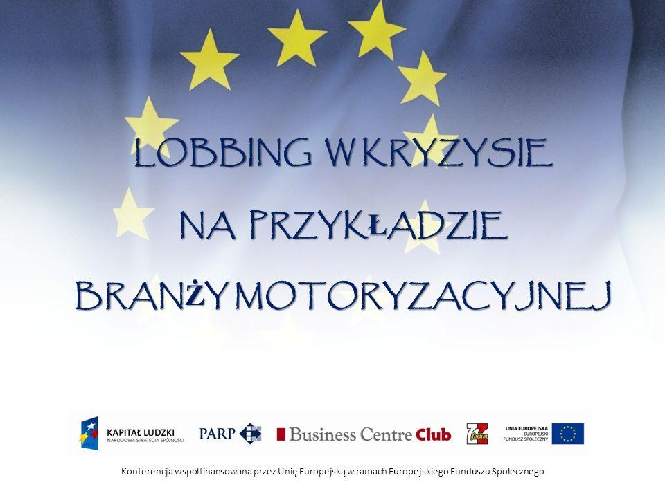 Konferencja współfinansowana przez Unię Europejską w ramach Europejskiego Funduszu Społecznego BRANŻA MOTORYZACYJNA W POLSCE: 1 mln aut rocznie produkuje się w Polsce 4% PKB tworzy sektor samochodowy 20% polskiego eksportu o wartości 18 mld euro 95% produkcji to eksport Co 20 auto wyprodukowane w Europie pochodzi z Polski W Polsce funkcjonuje 660 dostawców części Jesteśmy największym producentem części samochodowych w Europie 186 tys.