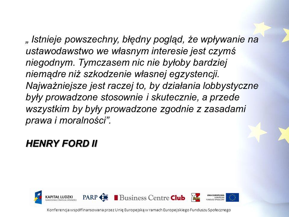 Konferencja współfinansowana przez Unię Europejską w ramach Europejskiego Funduszu Społecznego SKUECZNY LOBBING WYMAGA SKUTECZNY LOBBING WYMAGA Wiedzy merytorycznej Znajomości procesów decyzyjnych/legislacyjnych Technik komunikowania