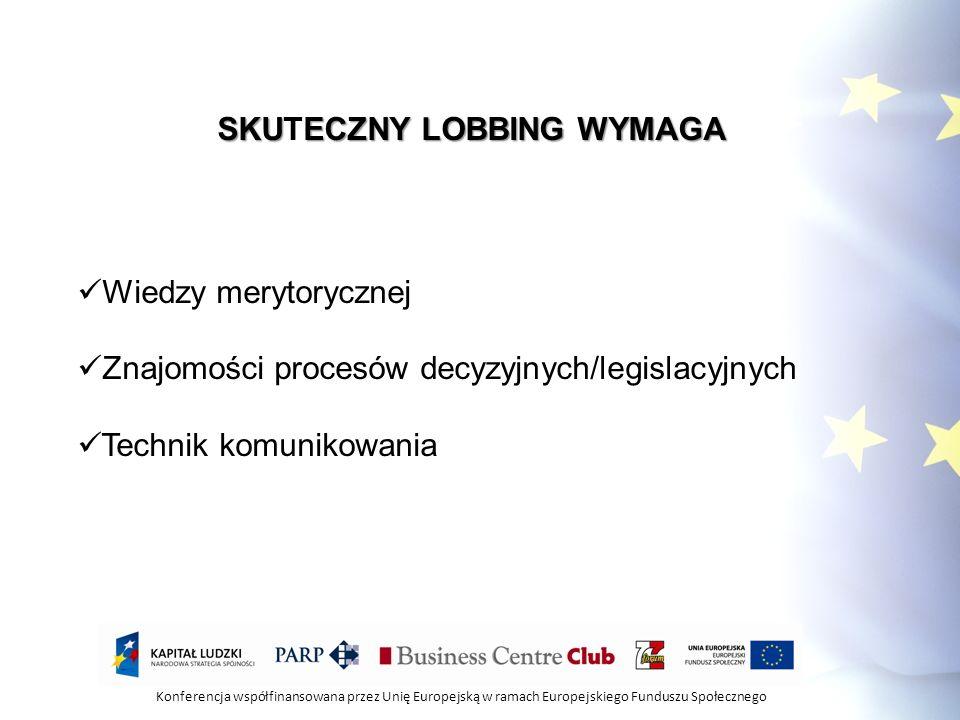 Konferencja współfinansowana przez Unię Europejską w ramach Europejskiego Funduszu Społecznego PLANOWANIE STRATEGII LOBBINGOWEJ 1) Określ problemy 2) Ustal hierarchizowanie ich ważności 3) Określ strony zaangażowane w problem 4) Określ przeciwników i ich argumenty 5) Określ metody i kanały komunikacji 6) Wyznacz cele oraz wynik działań lobbingowych 7) Rozważ własne możliwości i wyznacz granice negocjacji.