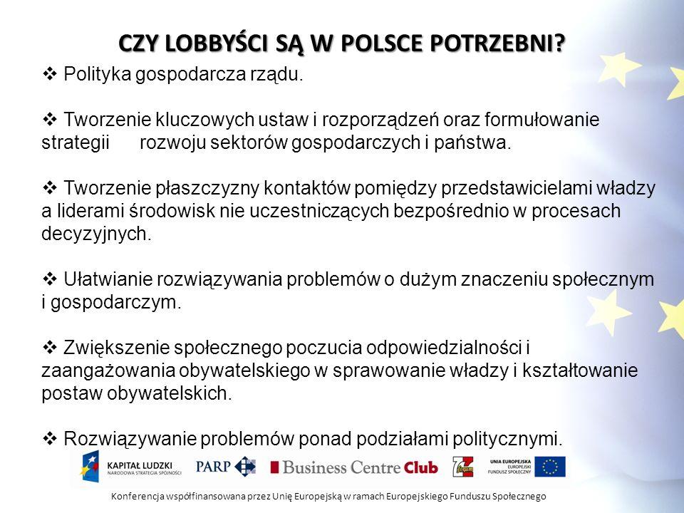 Konferencja współfinansowana przez Unię Europejską w ramach Europejskiego Funduszu Społecznego KTO LOBBUJE W POLSCE.