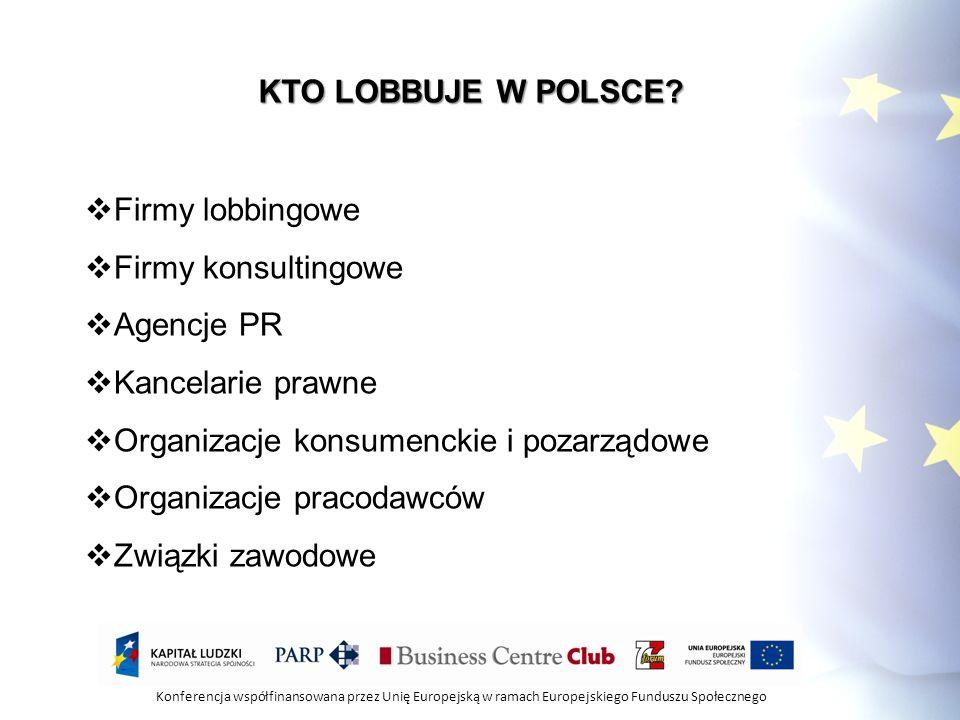 Konferencja współfinansowana przez Unię Europejską w ramach Europejskiego Funduszu Społecznego KTO LOBBUJE W UNII: Około 3000 grup interesów Około 20 000 lobbystów Ponad 70% prawa krajowego powstaje w unii