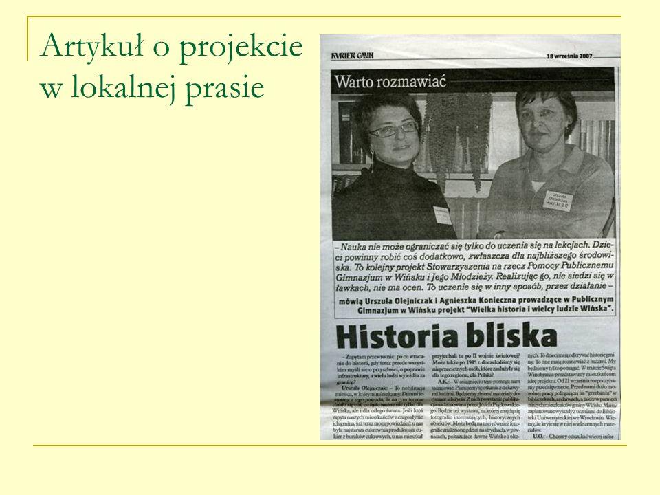 Artykuł o projekcie w lokalnej prasie
