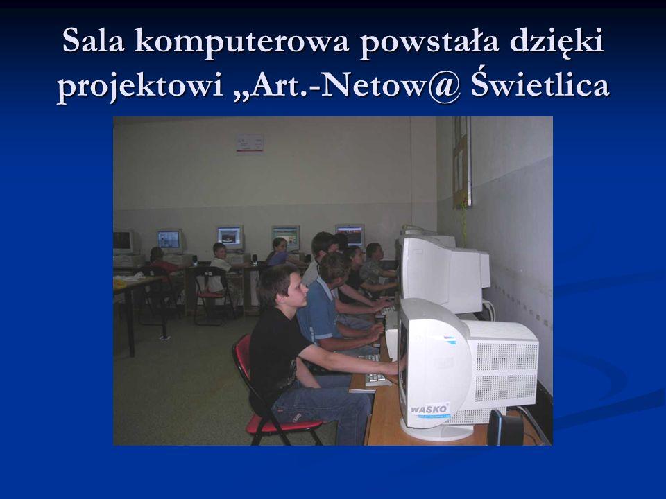 Sala komputerowa powstała dzięki projektowi Art.-Netow@ Świetlica