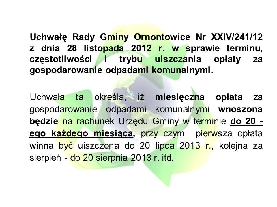 Uchwałę Rady Gminy Ornontowice Nr XXIV/241/12 z dnia 28 listopada 2012 r.