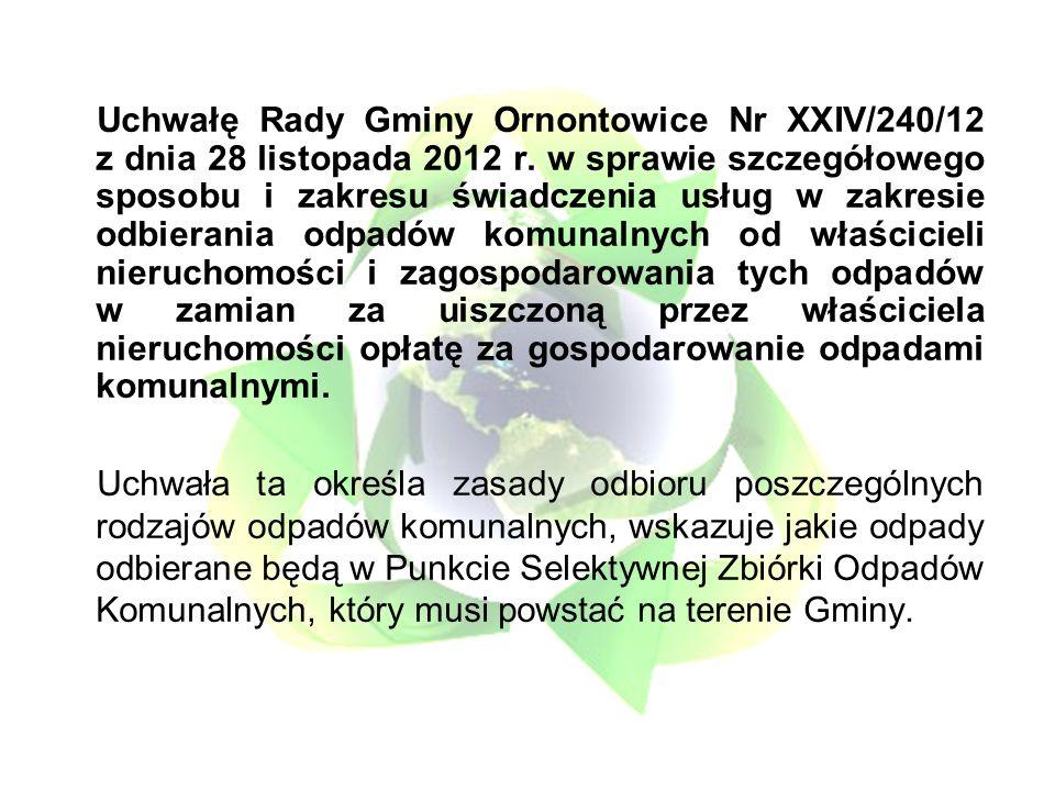 Uchwałę Rady Gminy Ornontowice Nr XXIV/240/12 z dnia 28 listopada 2012 r.