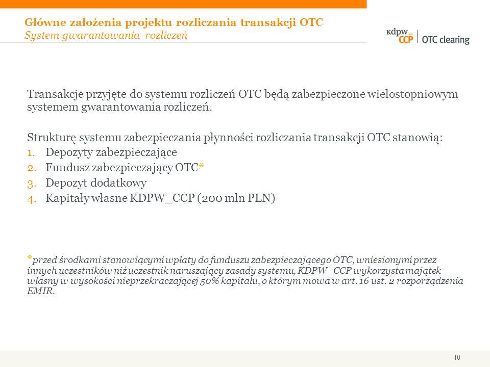 Transakcje przyjęte do systemu rozliczeń OTC będą zabezpieczone wielostopniowym systemem gwarantowania rozliczeń. Strukturę systemu zabezpieczania pły