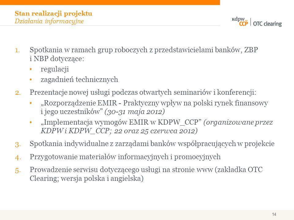 1.Spotkania w ramach grup roboczych z przedstawicielami banków, ZBP i NBP dotyczące: regulacji zagadnień technicznych 2.Prezentacje nowej usługi podcz