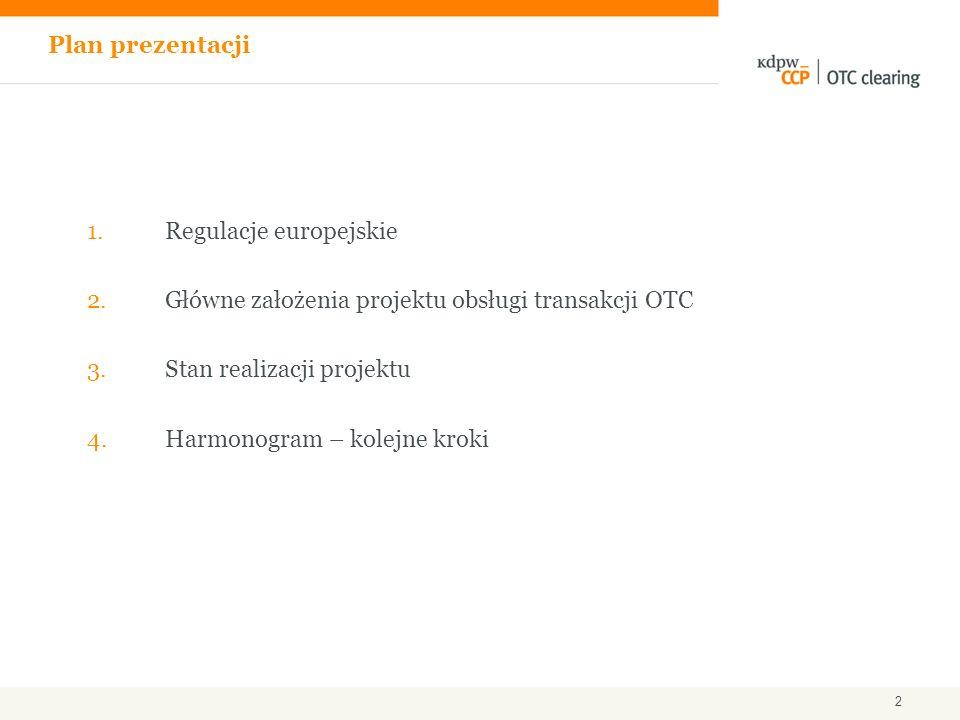1.Regulacje europejskie 2.Główne założenia projektu obsługi transakcji OTC 3.Stan realizacji projektu 4.Harmonogram – kolejne kroki Plan prezentacji 2