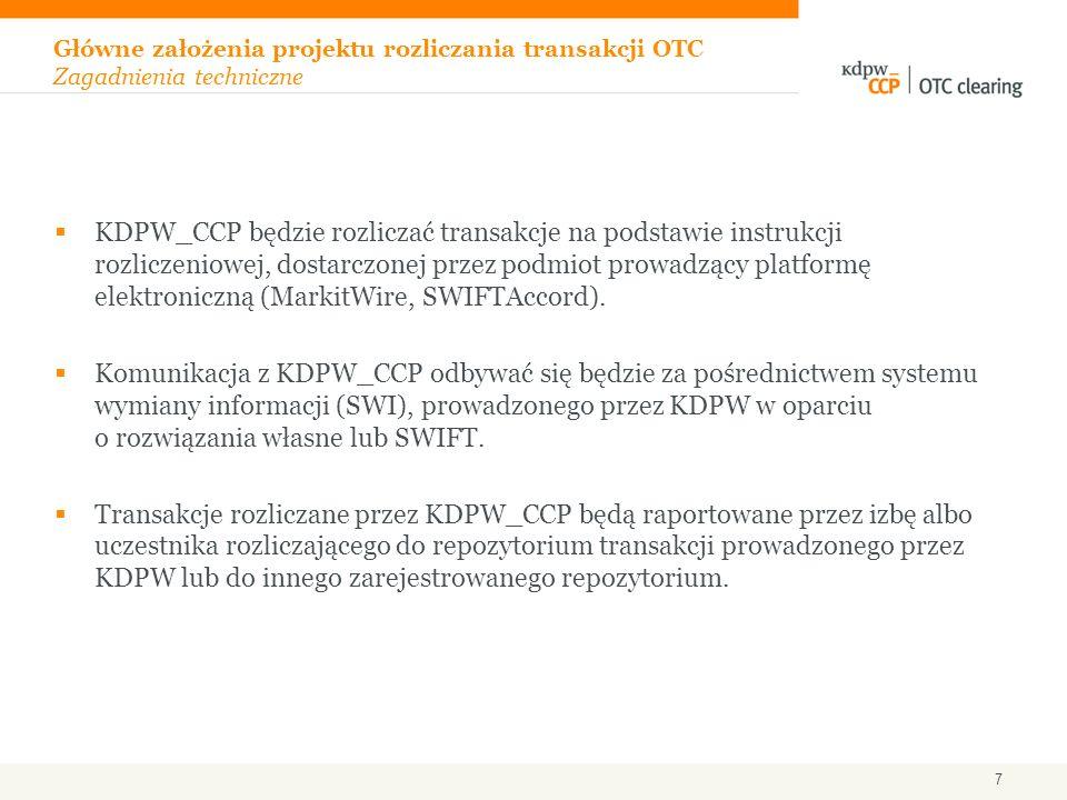 KDPW_CCP będzie rozliczać transakcje na podstawie instrukcji rozliczeniowej, dostarczonej przez podmiot prowadzący platformę elektroniczną (MarkitWire