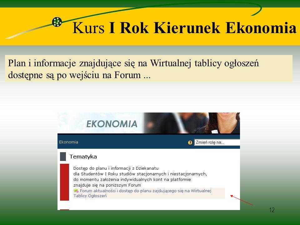 12 Kurs I Rok Kierunek Ekonomia Plan i informacje znajdujące się na Wirtualnej tablicy ogłoszeń dostępne są po wejściu na Forum...