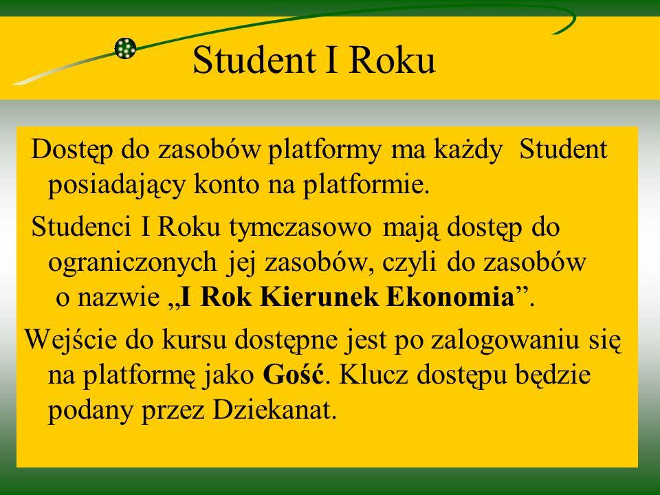 6 Student I Roku Dostęp do zasobów platformy ma każdy Student posiadający konto na platformie.