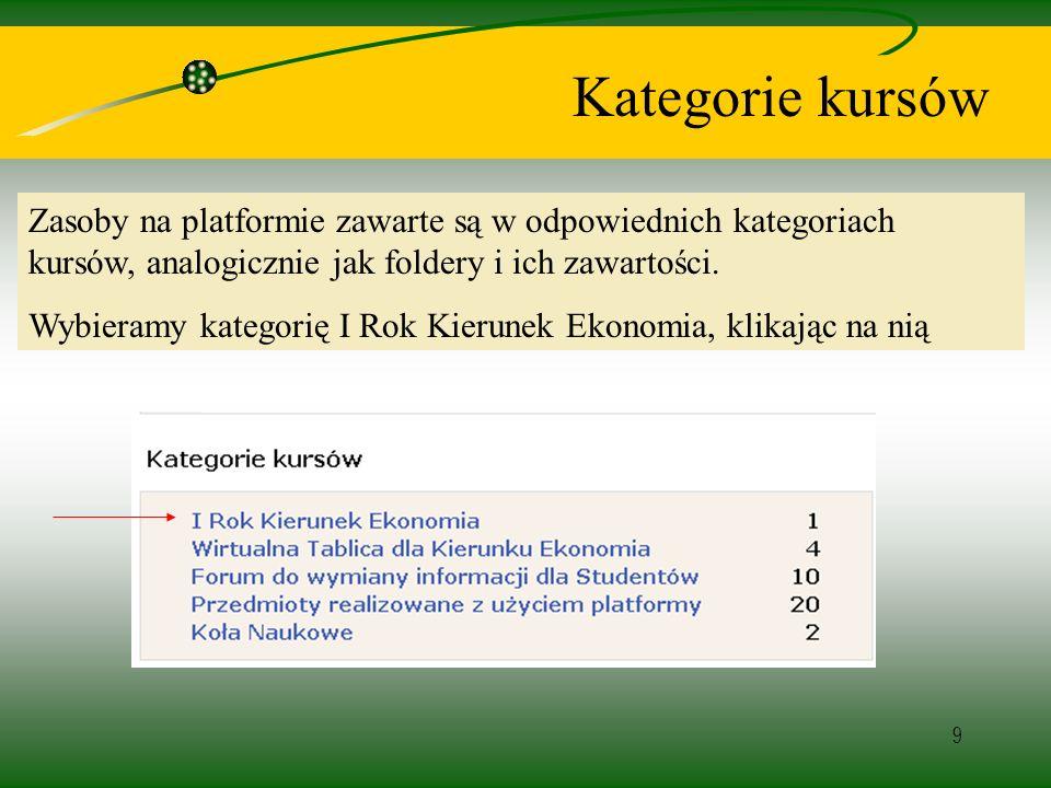 9 Kategorie kursów Zasoby na platformie zawarte są w odpowiednich kategoriach kursów, analogicznie jak foldery i ich zawartości.