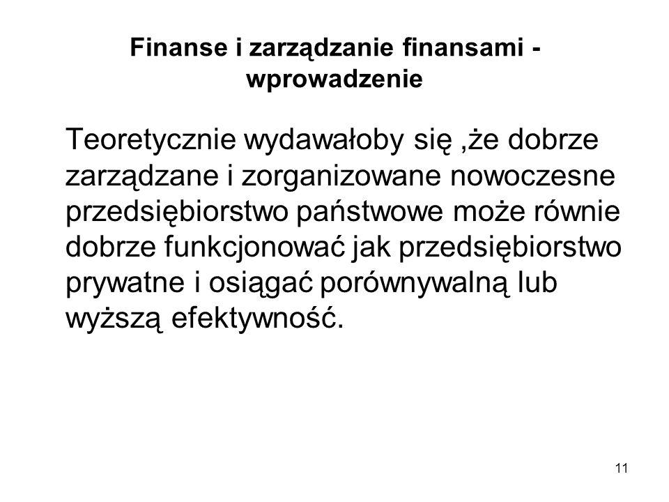 11 Finanse i zarządzanie finansami - wprowadzenie Teoretycznie wydawałoby się,że dobrze zarządzane i zorganizowane nowoczesne przedsiębiorstwo państwo