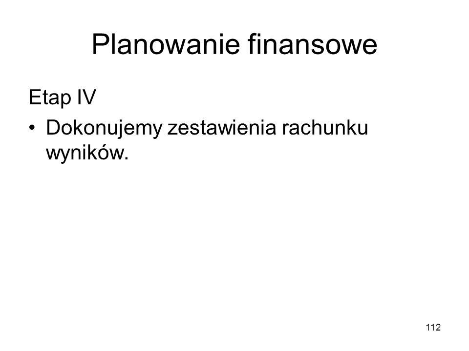 112 Planowanie finansowe Etap IV Dokonujemy zestawienia rachunku wyników.