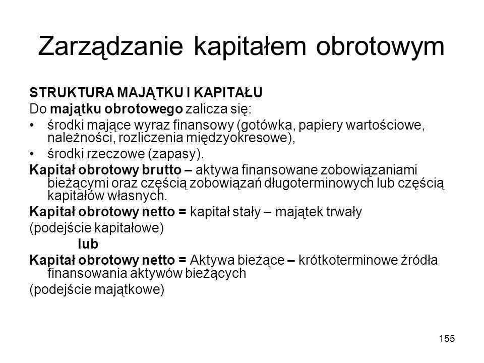 155 Zarządzanie kapitałem obrotowym STRUKTURA MAJĄTKU I KAPITAŁU Do majątku obrotowego zalicza się: środki mające wyraz finansowy (gotówka, papiery wa
