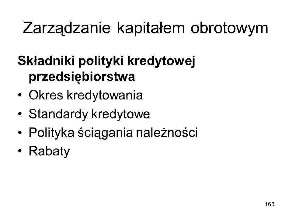 163 Zarządzanie kapitałem obrotowym Składniki polityki kredytowej przedsiębiorstwa Okres kredytowania Standardy kredytowe Polityka ściągania należnośc