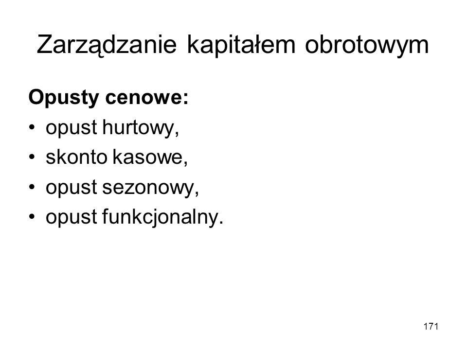 171 Zarządzanie kapitałem obrotowym Opusty cenowe: opust hurtowy, skonto kasowe, opust sezonowy, opust funkcjonalny.
