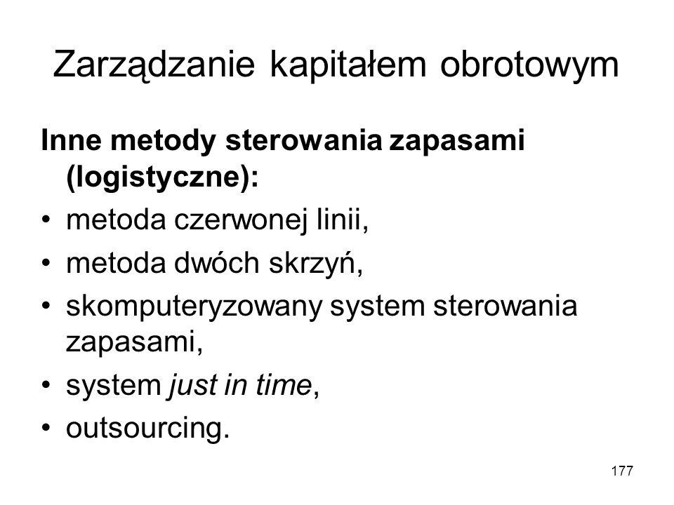 177 Zarządzanie kapitałem obrotowym Inne metody sterowania zapasami (logistyczne): metoda czerwonej linii, metoda dwóch skrzyń, skomputeryzowany syste