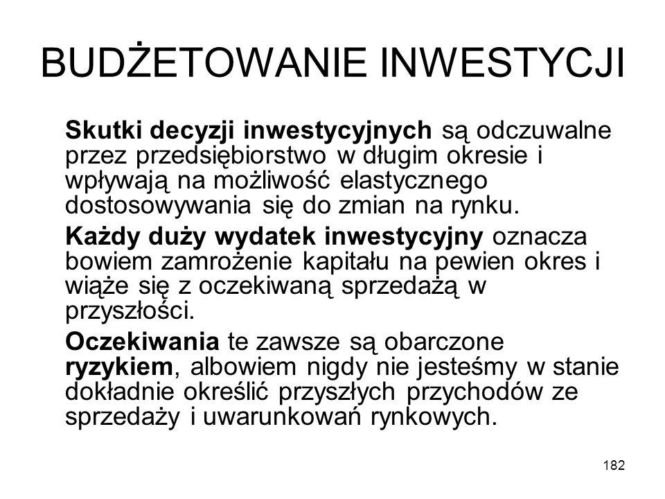 182 BUDŻETOWANIE INWESTYCJI Skutki decyzji inwestycyjnych są odczuwalne przez przedsiębiorstwo w długim okresie i wpływają na możliwość elastycznego d