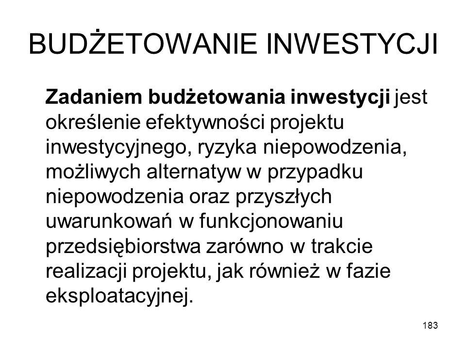 183 BUDŻETOWANIE INWESTYCJI Zadaniem budżetowania inwestycji jest określenie efektywności projektu inwestycyjnego, ryzyka niepowodzenia, możliwych alt