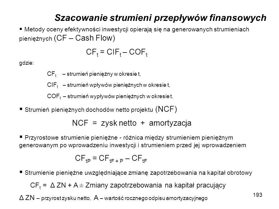 193 Szacowanie strumieni przepływów finansowych Metody oceny efektywności inwestycji opierają się na generowanych strumieniach pieniężnych (CF – Cash