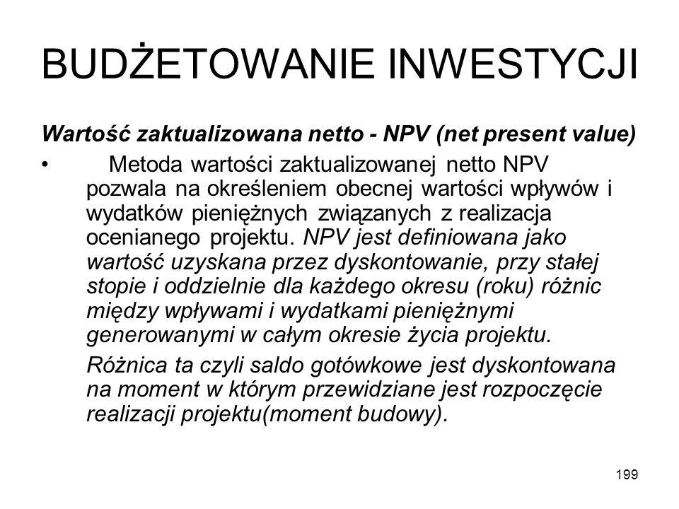 199 BUDŻETOWANIE INWESTYCJI Wartość zaktualizowana netto - NPV (net present value) Metoda wartości zaktualizowanej netto NPV pozwala na określeniem ob