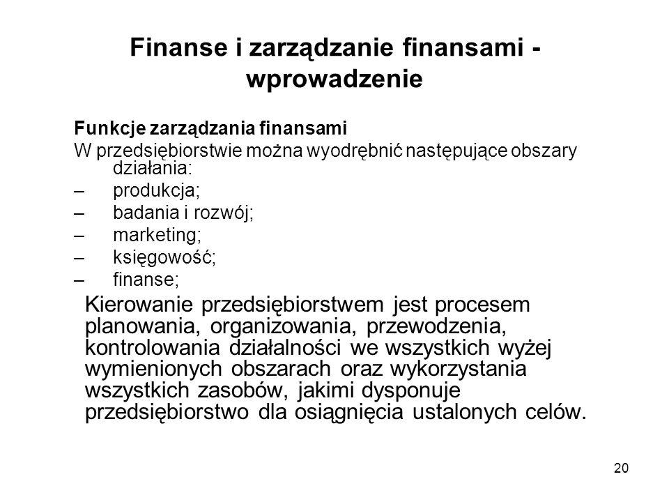 20 Finanse i zarządzanie finansami - wprowadzenie Funkcje zarządzania finansami W przedsiębiorstwie można wyodrębnić następujące obszary działania: –p