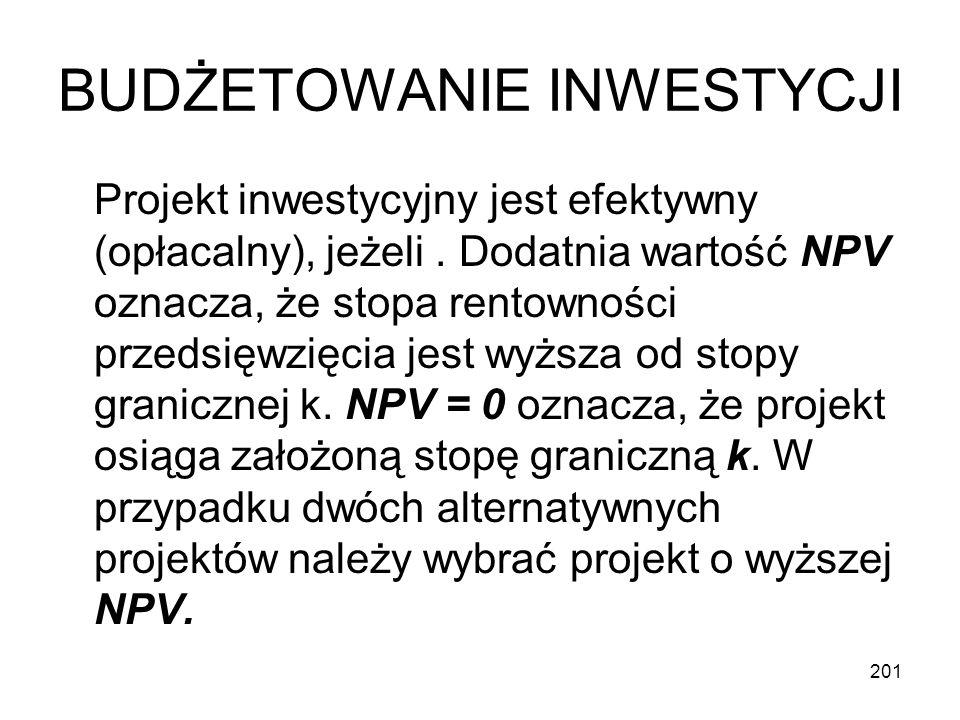 201 BUDŻETOWANIE INWESTYCJI Projekt inwestycyjny jest efektywny (opłacalny), jeżeli. Dodatnia wartość NPV oznacza, że stopa rentowności przedsięwzięci