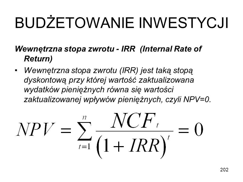 202 BUDŻETOWANIE INWESTYCJI Wewnętrzna stopa zwrotu - IRR (Internal Rate of Return) Wewnętrzna stopa zwrotu (IRR) jest taką stopą dyskontową przy któr
