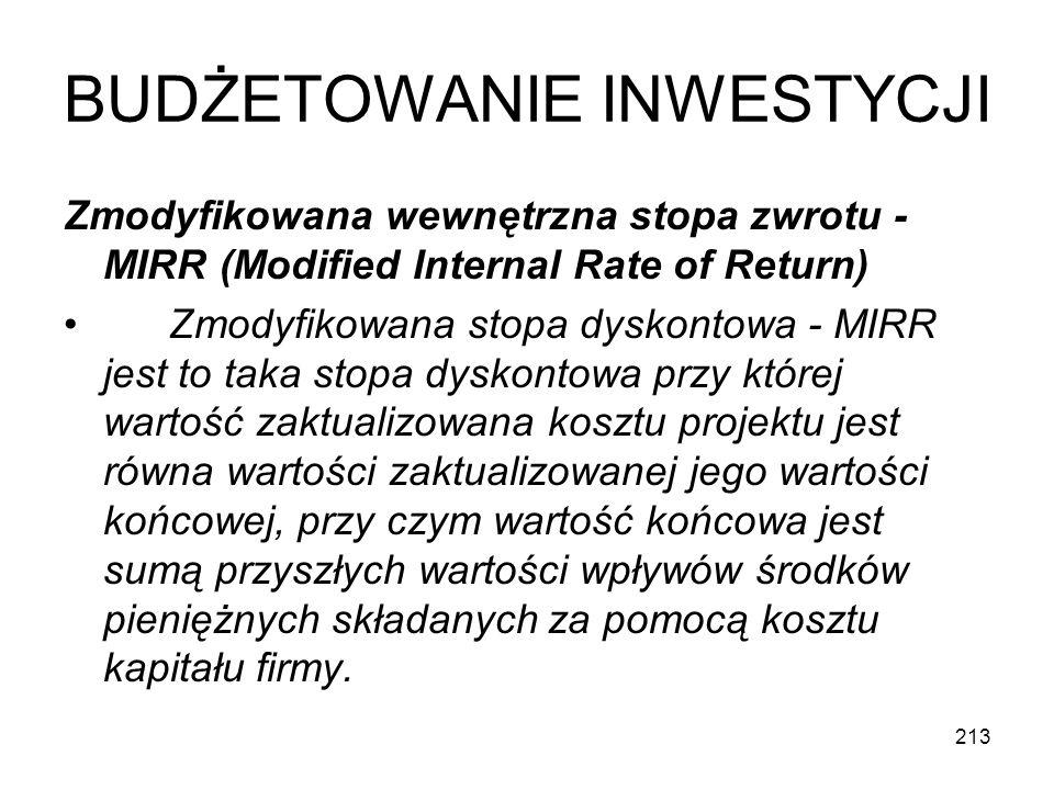 213 BUDŻETOWANIE INWESTYCJI Zmodyfikowana wewnętrzna stopa zwrotu - MIRR (Modified Internal Rate of Return) Zmodyfikowana stopa dyskontowa - MIRR jest