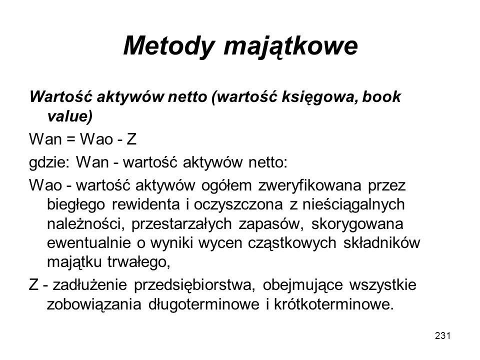Metody majątkowe Wartość aktywów netto (wartość księgowa, book value) Wan = Wao - Z gdzie: Wan - wartość aktywów netto: Wao - wartość aktywów ogółem z
