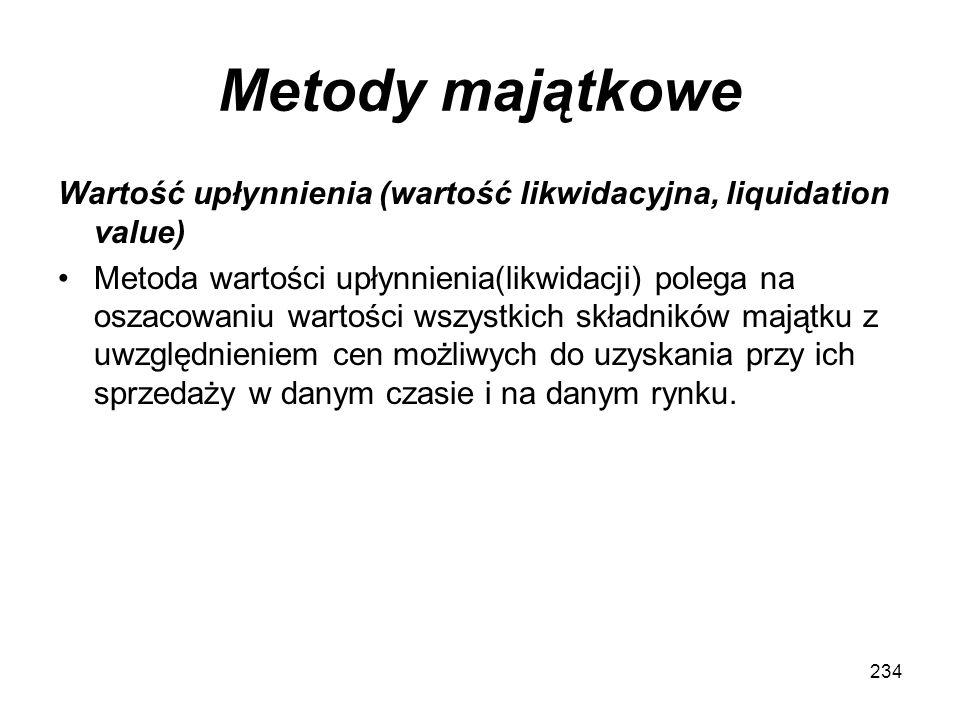 Metody majątkowe Wartość upłynnienia (wartość likwidacyjna, liquidation value) Metoda wartości upłynnienia(likwidacji) polega na oszacowaniu wartości