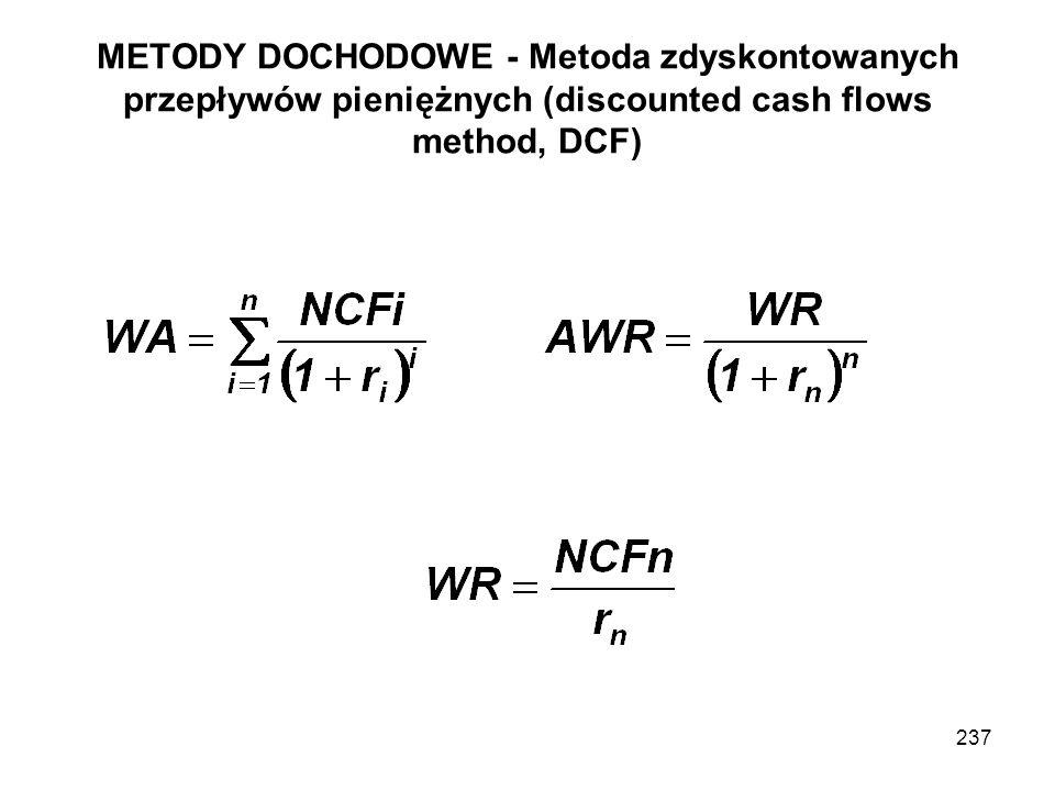 METODY DOCHODOWE - Metoda zdyskontowanych przepływów pieniężnych (discounted cash flows method, DCF) 237