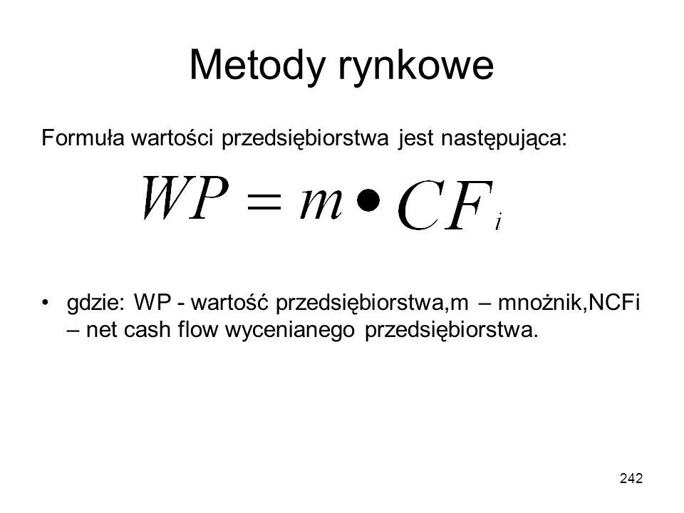 Metody rynkowe Formuła wartości przedsiębiorstwa jest następująca: gdzie: WP - wartość przedsiębiorstwa,m – mnożnik,NCFi – net cash flow wycenianego p