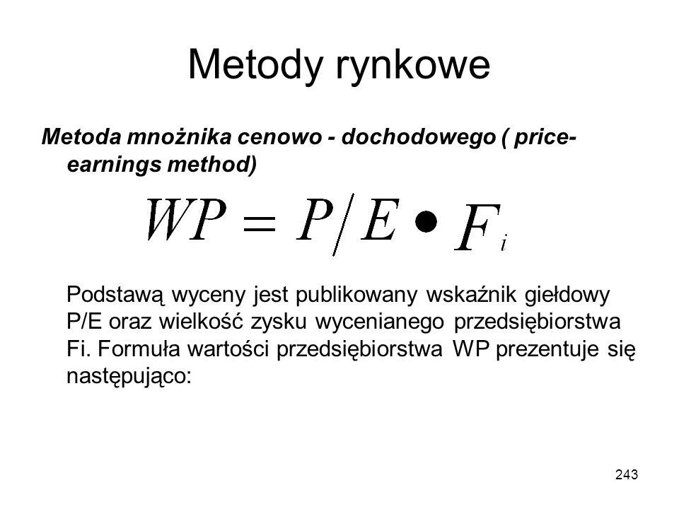 Metody rynkowe Metoda mnożnika cenowo - dochodowego ( price- earnings method) Podstawą wyceny jest publikowany wskaźnik giełdowy P/E oraz wielkość zys
