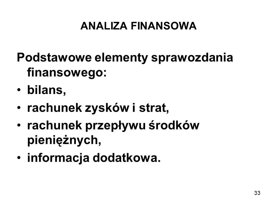 33 ANALIZA FINANSOWA Podstawowe elementy sprawozdania finansowego: bilans, rachunek zysków i strat, rachunek przepływu środków pieniężnych, informacja