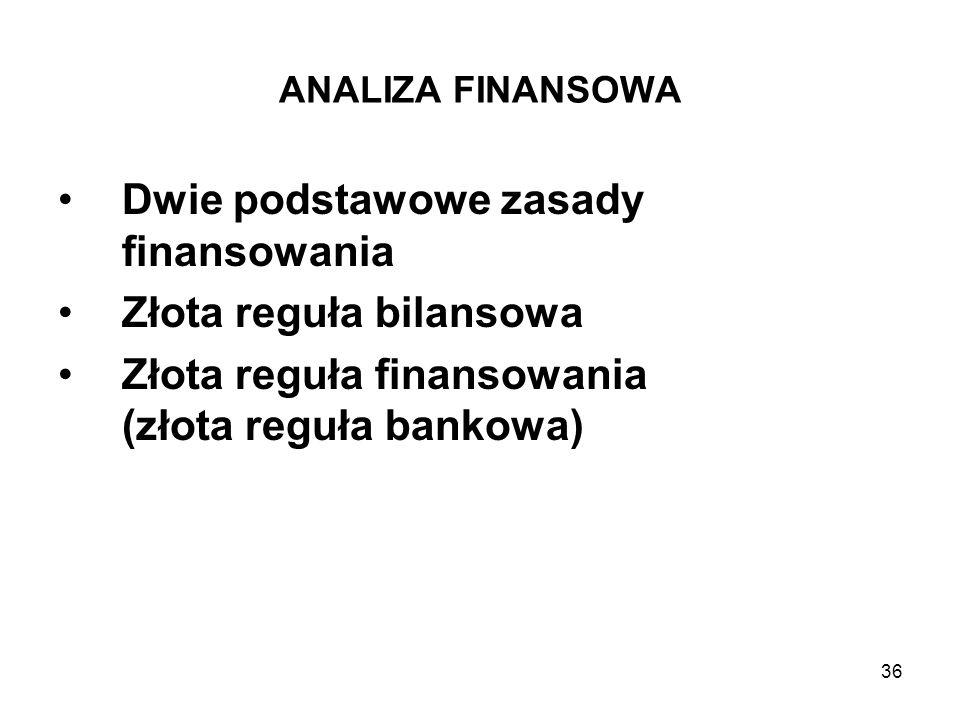 36 ANALIZA FINANSOWA Dwie podstawowe zasady finansowania Złota reguła bilansowa Złota reguła finansowania (złota reguła bankowa)
