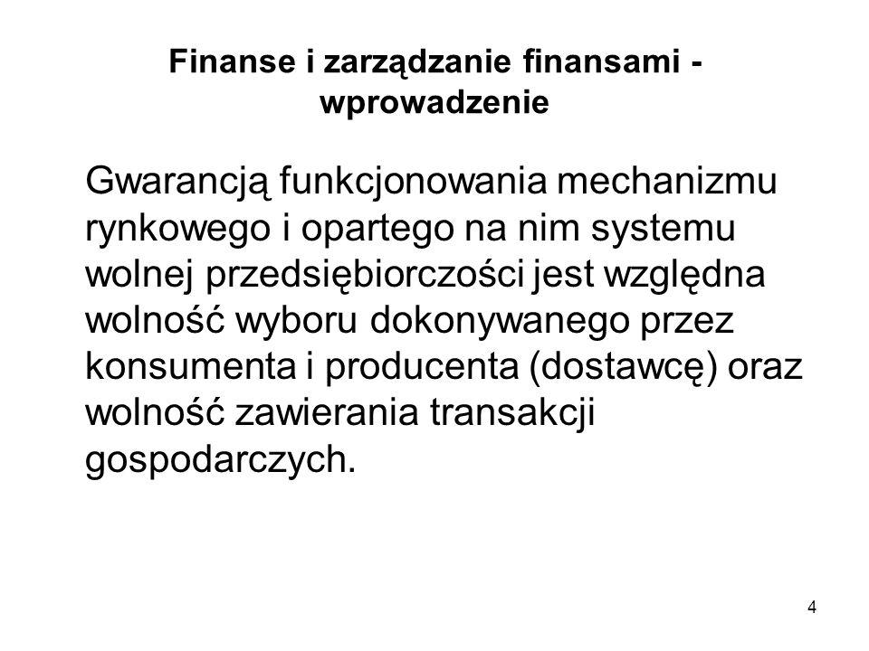 4 Finanse i zarządzanie finansami - wprowadzenie Gwarancją funkcjonowania mechanizmu rynkowego i opartego na nim systemu wolnej przedsiębiorczości jes