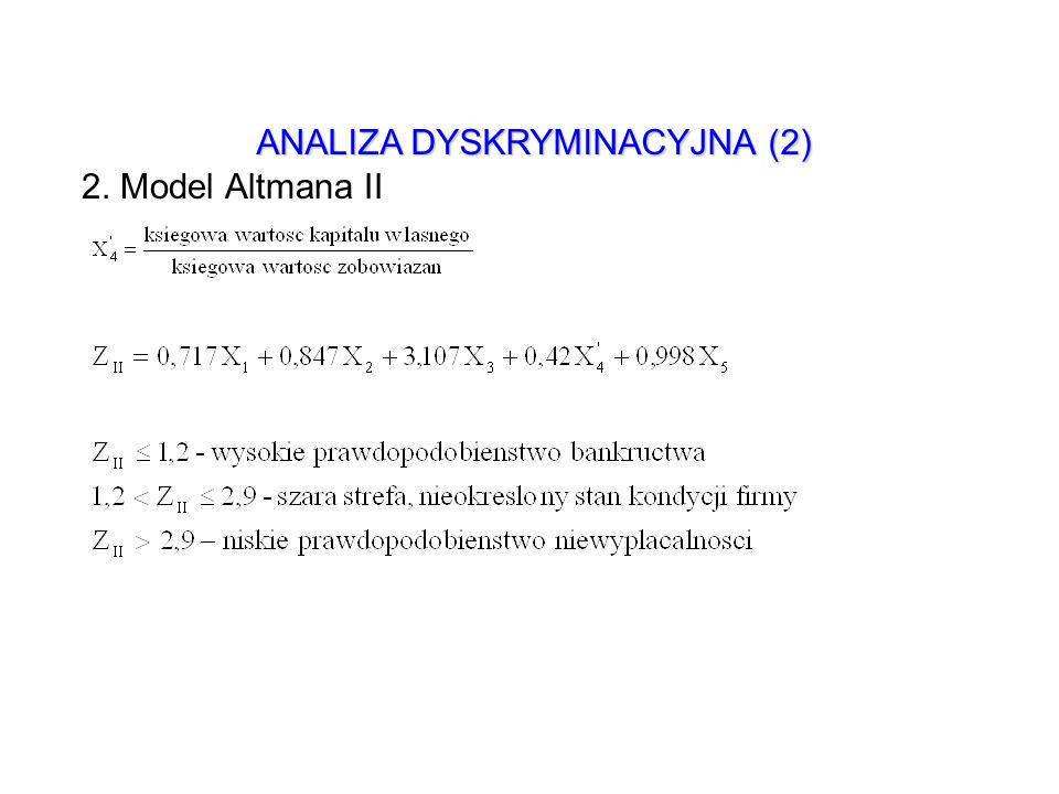 ANALIZA DYSKRYMINACYJNA (2) 2. Model Altmana II