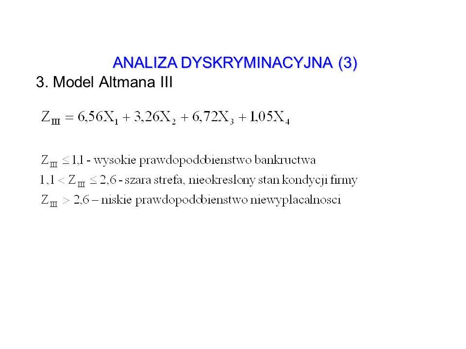 ANALIZA DYSKRYMINACYJNA (3) 3. Model Altmana III